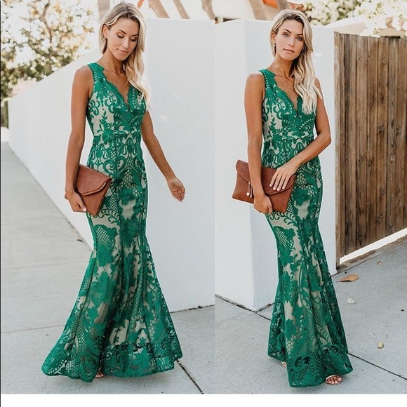 7a3648356c54 Vici Dresses | Beauty Never Fades Lace Maxi Dress Green | Poshmark